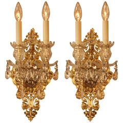 Fabulous Pair of Spanish Crystal and Bronze Wall Sconces