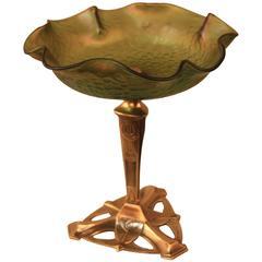 Bohemian Art Nouveau Glass, Bronze Base Centerpiece