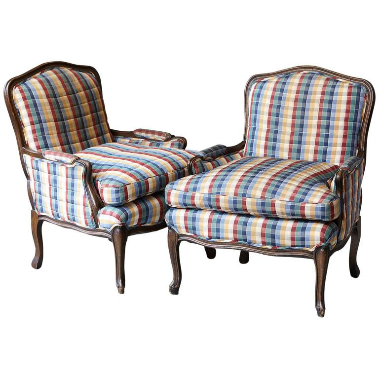 Pair of French Louis XV Style Bergères Upholstered in Madras Check Chintz Fabric For Sale