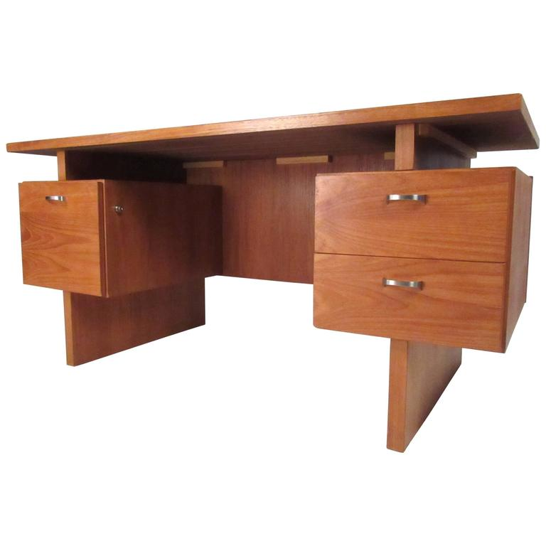 rs furniture teak floating top desk for sale at 1stdibs