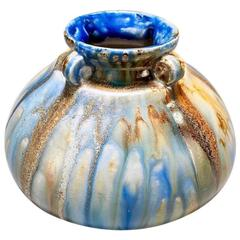 Roger Guerin Blue and Brown Small Four Handled Pottery Vase
