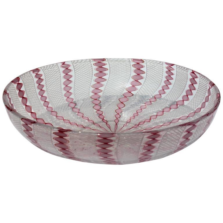 Murano Latticino Art Glass Bowl