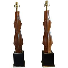Pair of Maurizio Tempestini Mid-Century Modern Carved Wood Lamps