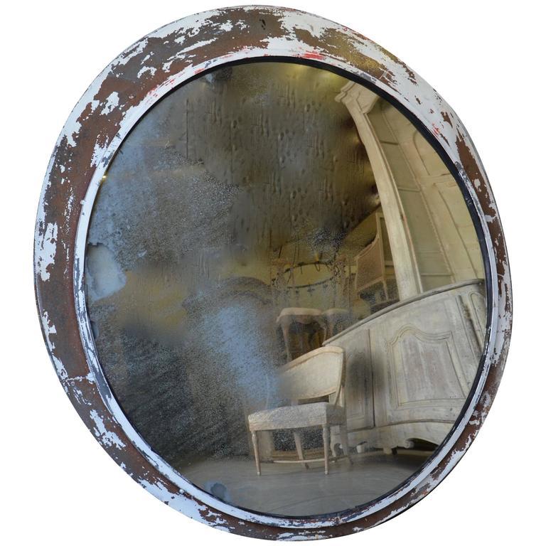 Huge Vintage Convex Traffic Mirror For Sale