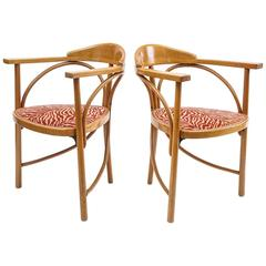 Pair of Secessionist Armchairs, Animal Motif Upholstery
