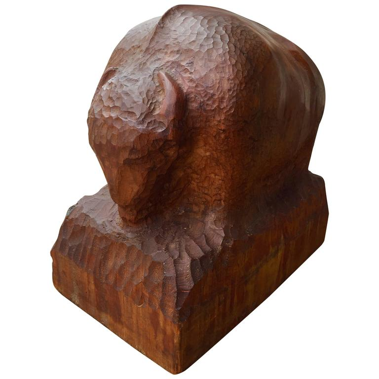 Chip carved sculpture of a buffalo at stdibs
