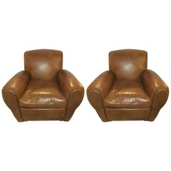 Pair of Fine Worn Leather Cabaret Chairs