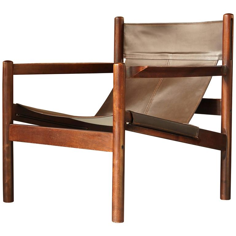 Beau Michel Arnoult Roxinho Brown Leather Safari Chair Or Sling Chair, Vintage,  1960 For Sale