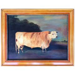 Folk Art Painting of a Large Cow Signed Mills