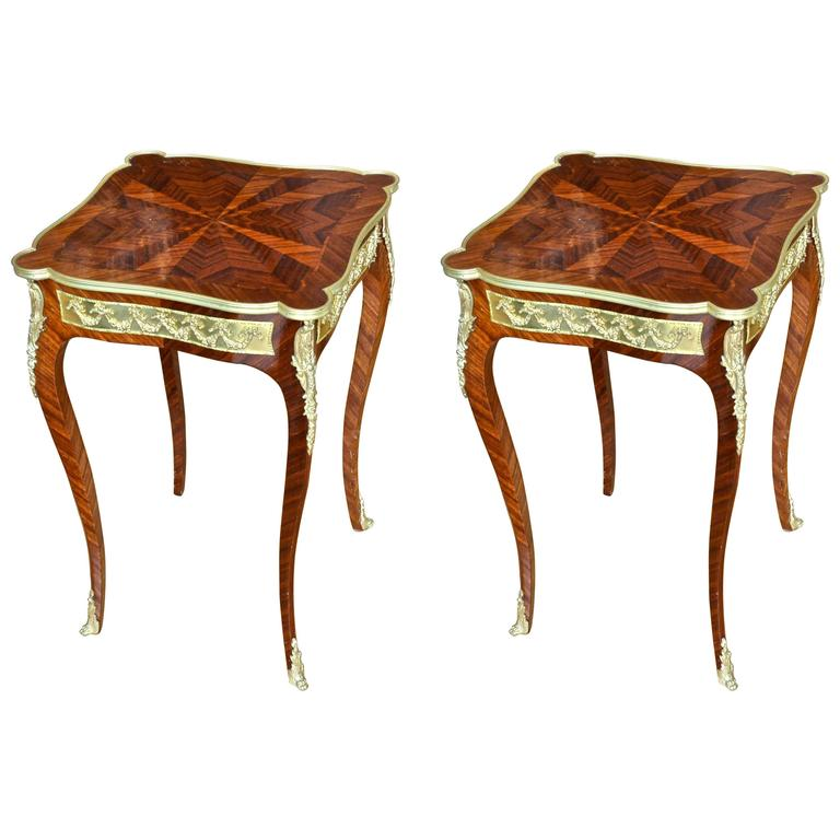 Pair of French Louis XV Style Kingwood and Ormolu Side Tables 1