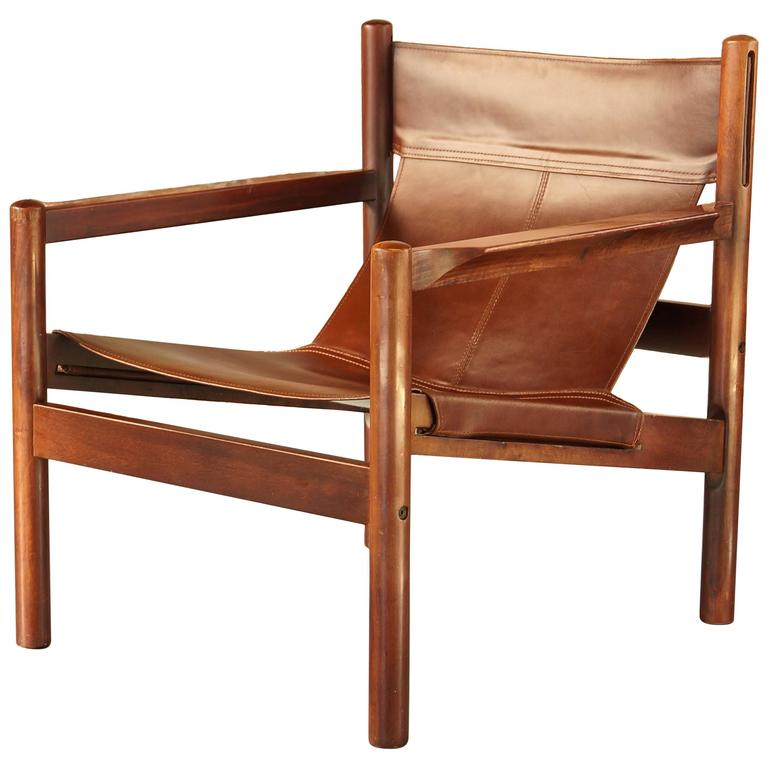 Delicieux Michel Arnoult Roxinho Tan Leather Safari Chair Or Sling Chair, Vintage,  1960 For Sale