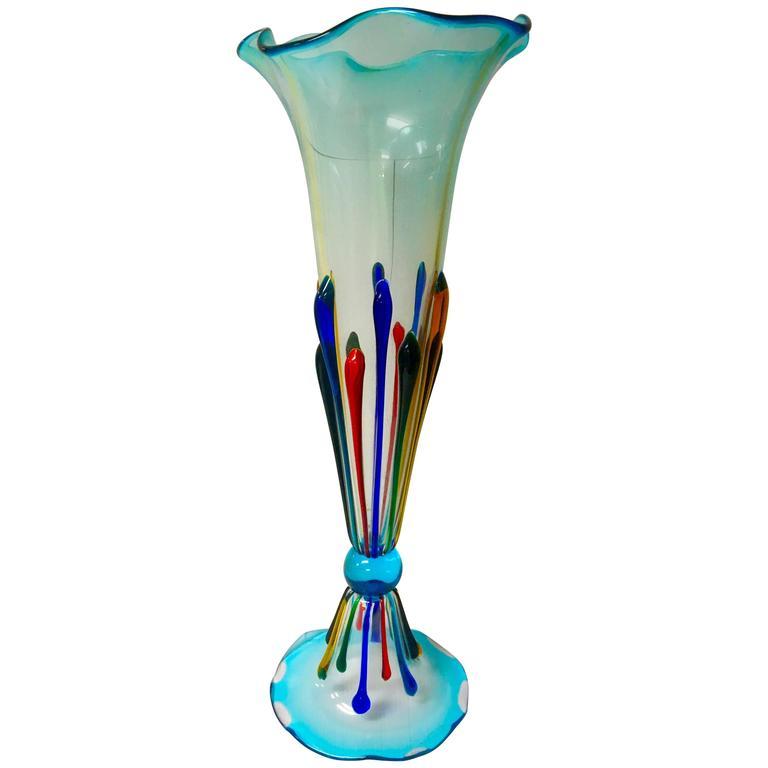 Magnificent Extra Tall Italian Murano Glass Vase By Danilo Zanella
