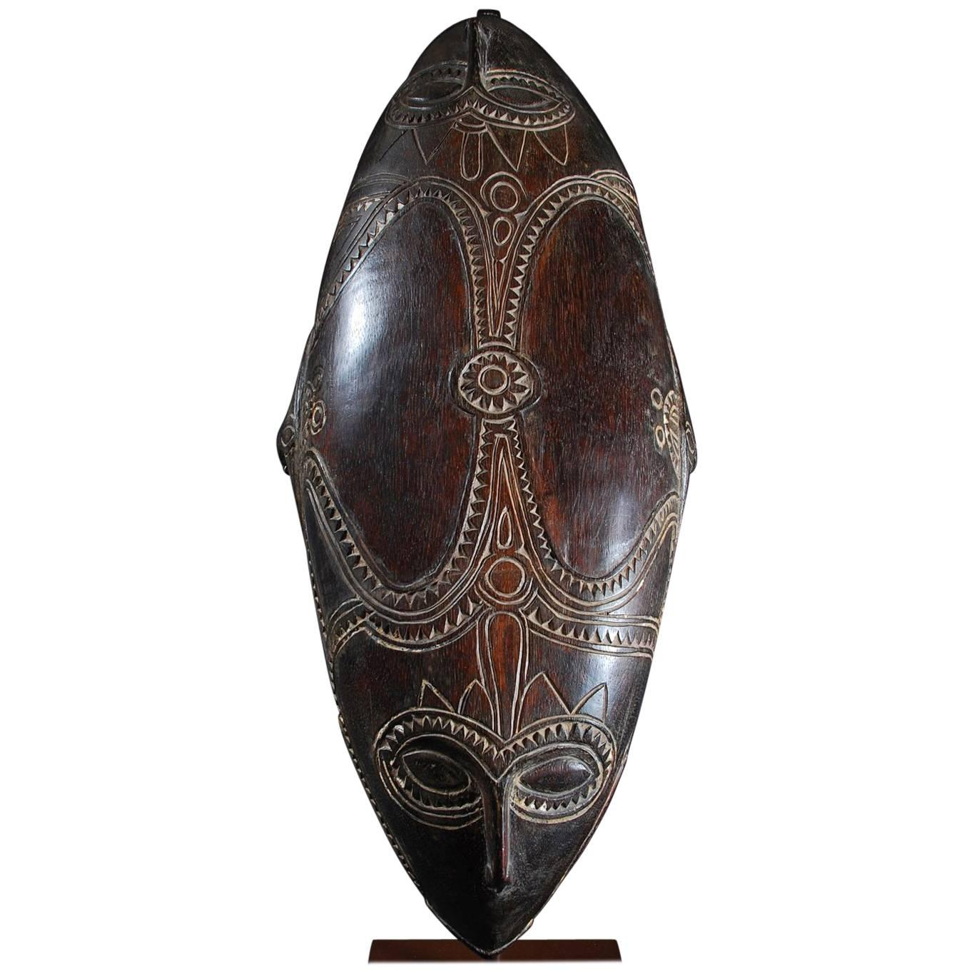 Mid-20th Century Tami Islands Papua New Guinea Tribal Wooden Feast Bowl
