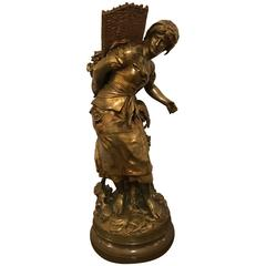 Palatial Bronze Sculpture of a Young Girl Picking Fruit by Mathurin Moreau
