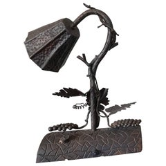 Forged in Fire Organic Arts and Crafts Wrought Iron Table or Desk Lamp Rewired