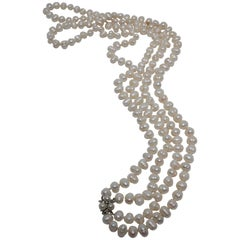 Natural Pearl Necklace with Vintage Pearl Gold and Diamond Clasp
