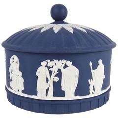 Wedgwood Aphrodite Covered Box in White on Portland Blue Jasper Ware