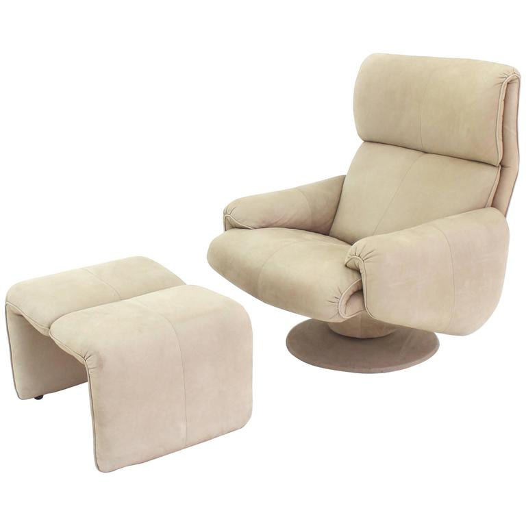 Beige Suede Leather Lounge Chair with Matching Ottoman For Sale