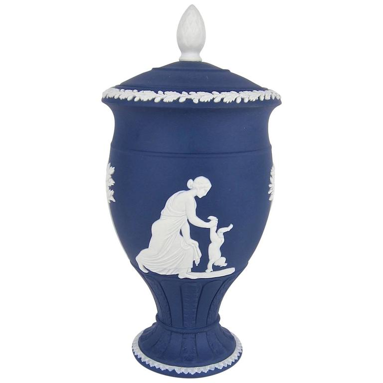 Wedgwood Achilles Classical Covered Urn In White On