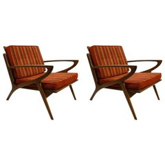 Pair of Stylish Lounge Chairs Yugoslavian after Jensen