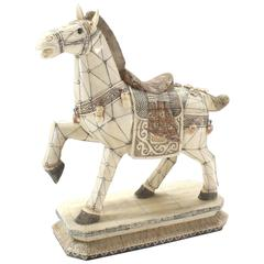 Sheeted Bone Tile Horse Sculpture Statue