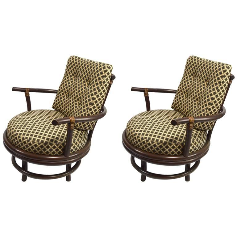 Pair of Swivel Bamboo Lounge Chairs For Sale