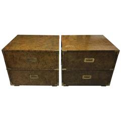 Pair of Vintage Faux Finish Campaign Style Chests or End Tables by Henredon