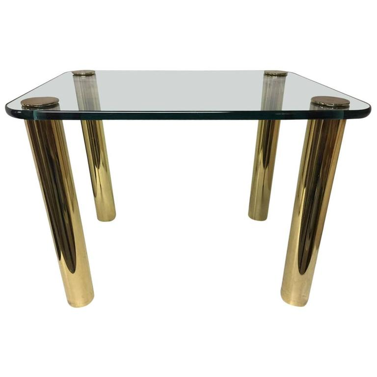 Vintage Pace Brass And Glass Rectangular Coffee End Table