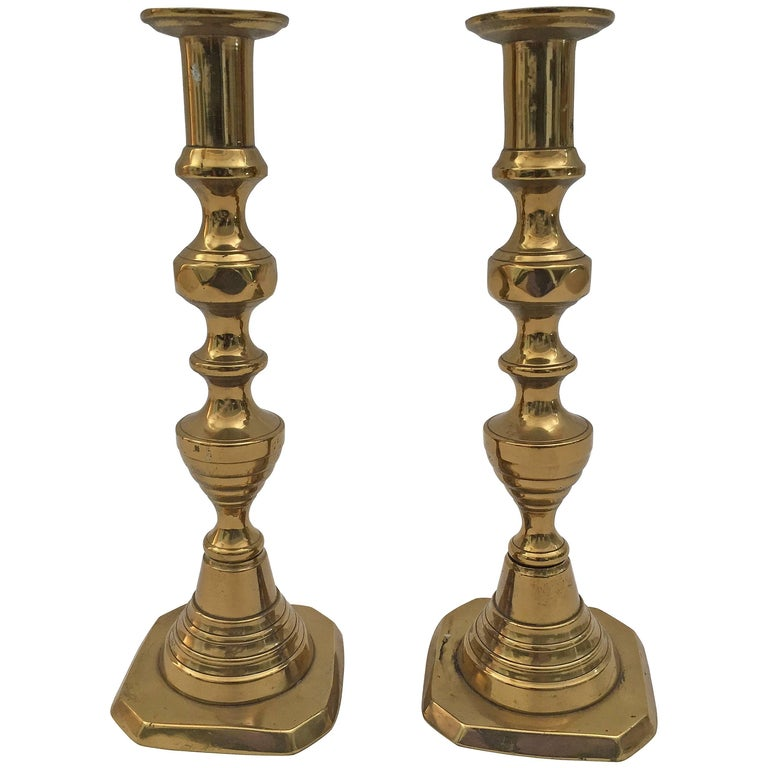 Pair of Tall Victorian Brass Candlesticks For Sale
