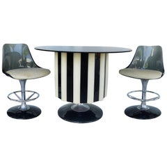1970s Mid-Century Modern Chromecraft Acrylic & Chrome Dry Bar with Two Stools