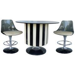 1970s Mid Century Modern Chromecraft Acrylic U0026amp; Chrome Dry Bar With Two  Stools