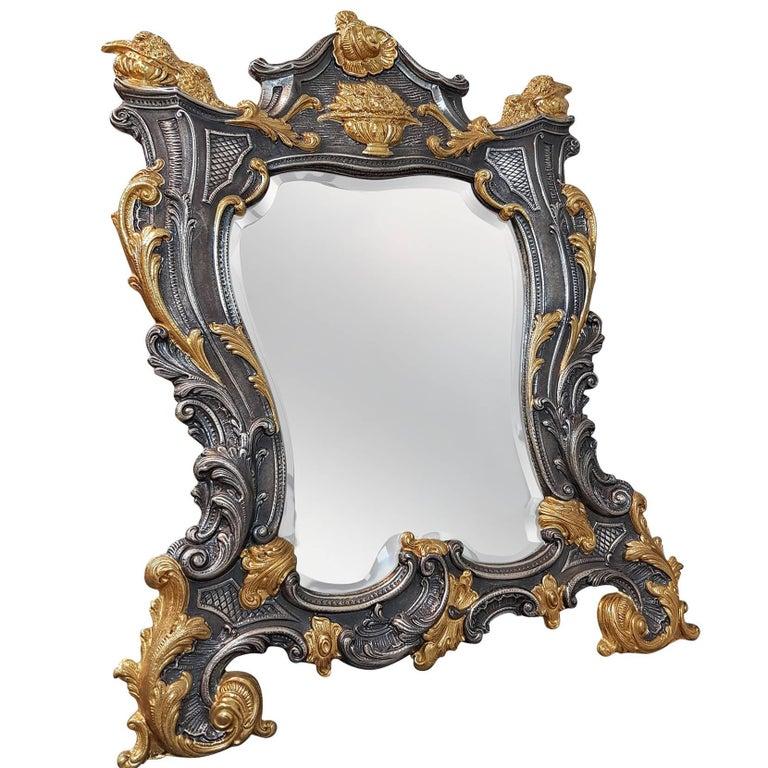 20th Century Sterling Silver Italian Barocco revival Table Mirror For Sale