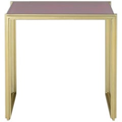 Geometric, Bespoke Brass Side Table with Lotus Pink Top, by P. Tendercool