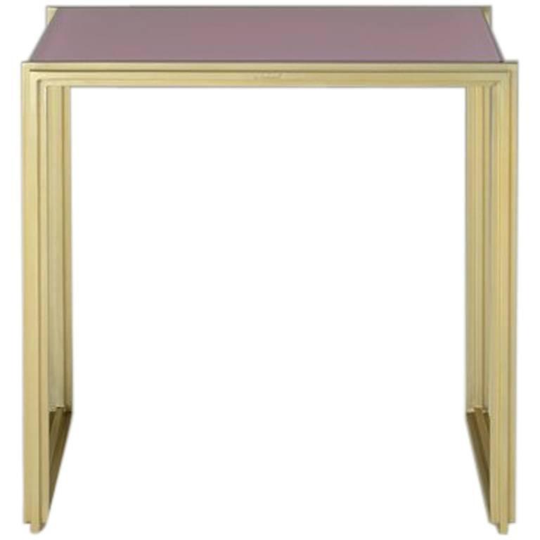 Geometric, Bespoke Brass Side Table with Lotus Pink Top, by P. Tendercool