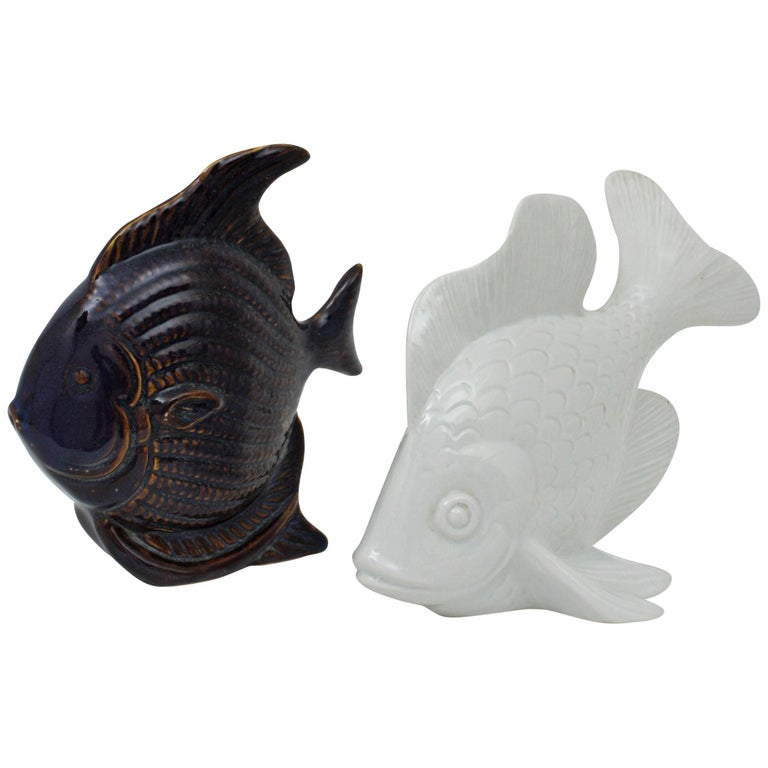 Pair of Mid-Century Modern Cobalt Blue Ceramic & White Porcelain Fish Sculptures