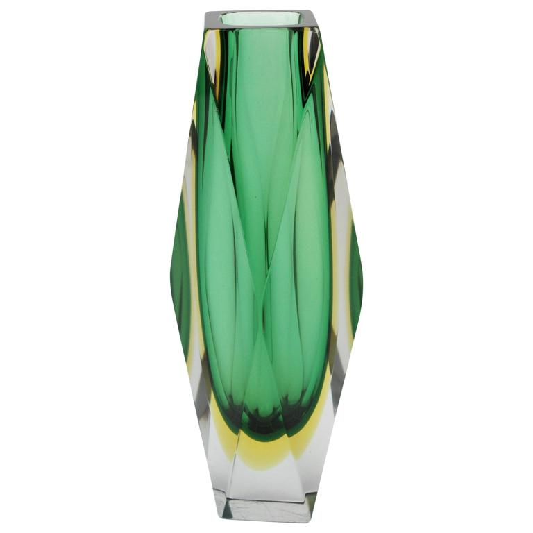 Giant Mandruzzato Triple Cased Green and Yellow Faceted Murano Glass Vase