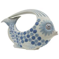 Spanish, 1970s Lladró Porcelain Blue and White Fish Figure Centerpiece