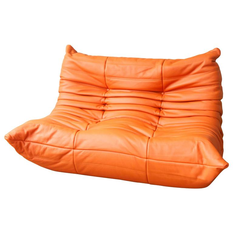 Orange Leather Two Seat Togo Sofa By Michel Ducaroy For Ligne Roset At 1stdibs