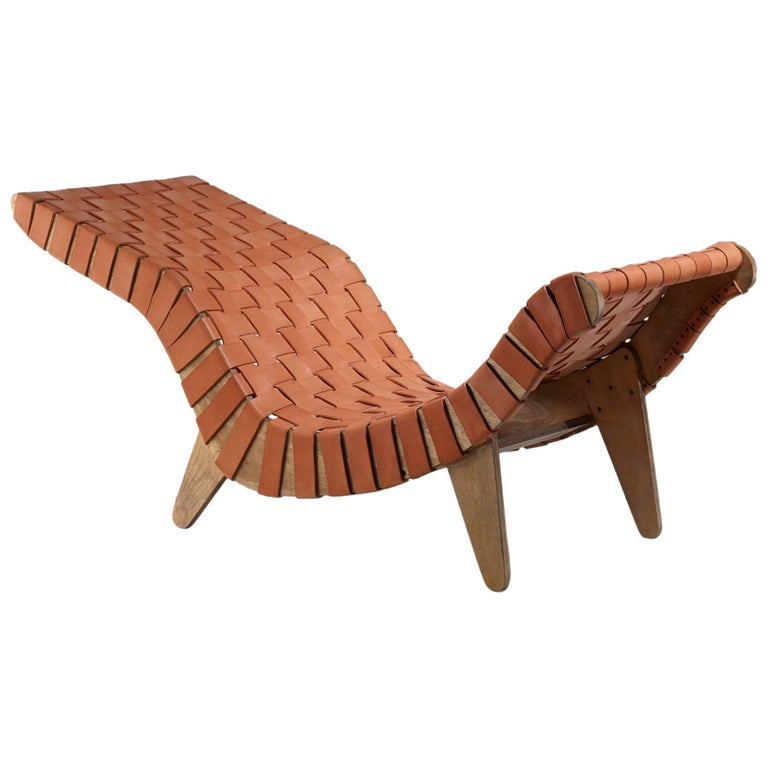 Klaus Grabe Chaise Longue with Leather Webbing, USA, circa 1950