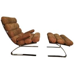 Vintage Sinus Lounge Chair and Pouffe by Reinhold Adolf and Hans-Jürgen Schräpfe