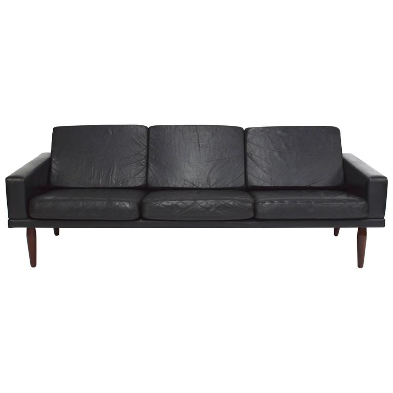 Scandinavian Black Leather and Rosewood Three-Seat Sofa by Bovenkamp, 1960s