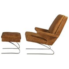 Swing Lounge Chair and Ottoman, Reinhold Adolf and Hans-jürgen Schräpfer for COR