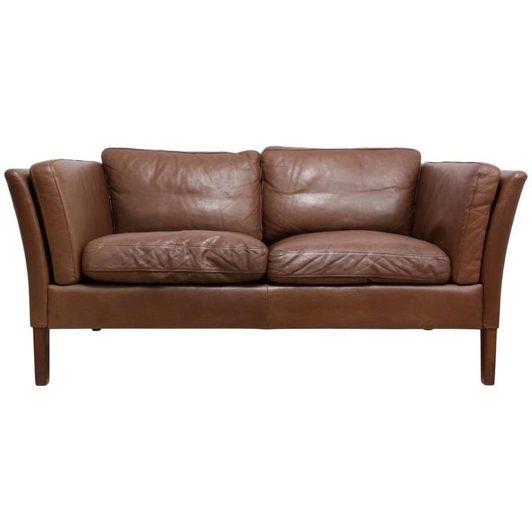 Two-Seat Leather Sofa Danish, circa 1960 For Sale