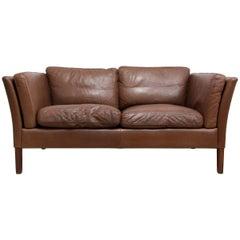 Two-Seat Leather Sofa Danish, circa 1960