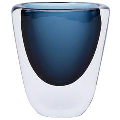 1950s Blue Glass Vase by Nils Landberg for Orrefors