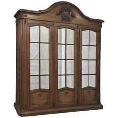 19th Century French Napoleon III Period Grand Oak Armoire/Bookcase