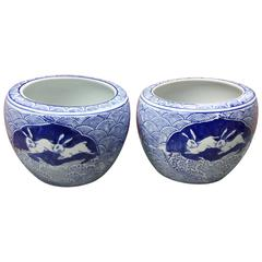 Old Japan Pair of PLAYFUL RABBIT Planters Bowls Mint Condition