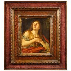 19th Century Italian Religious Oil Painting Mary Magdalene