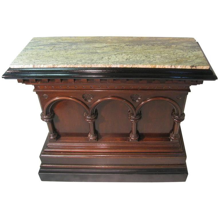 Fabulous Carved Gothic Oak Bar with Marble Top