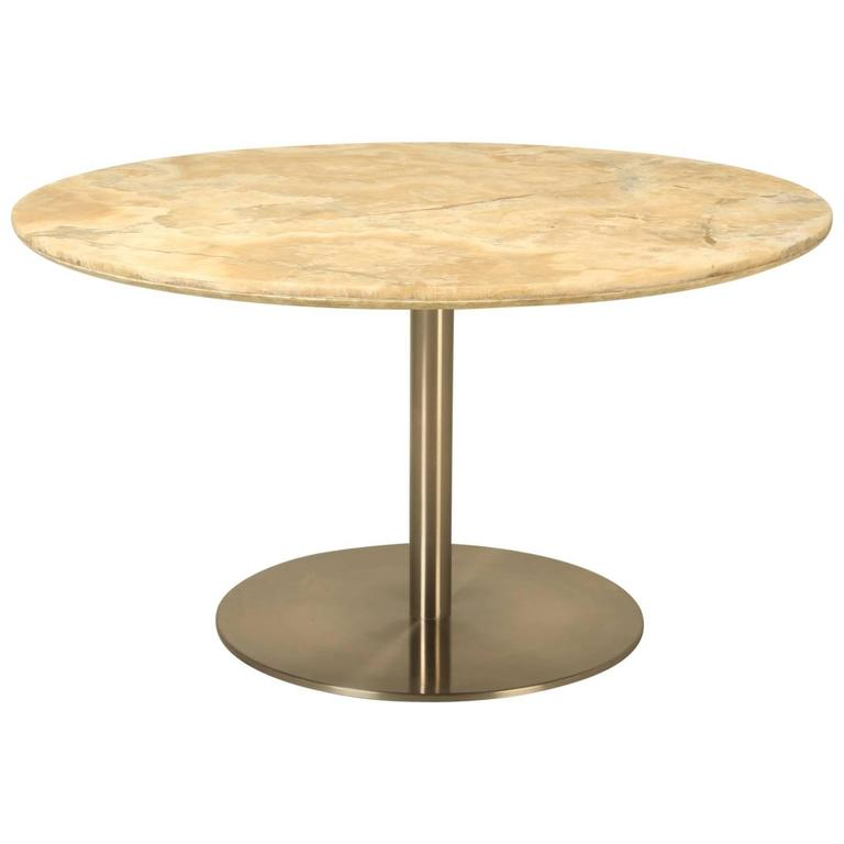 Round Dining Table in Onyx Stone and Stainless Steel